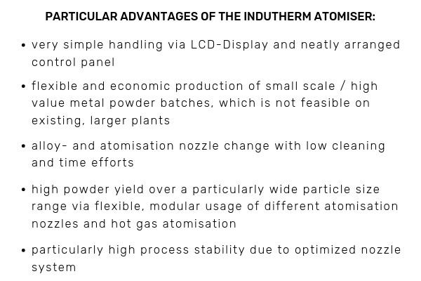 Indutherm Powder Atomisation Plants - benefits 02